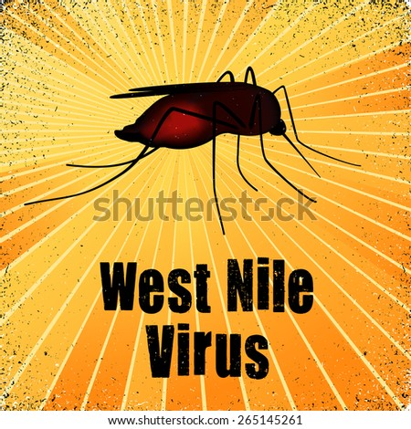 West Nile Virus, blood filled mosquito, graphic illustration with gold ray grunge background. EPS8 compatible. - stock vector