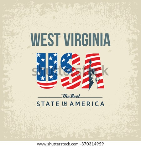 West Virginia best state in America, white, vintage vector illustration