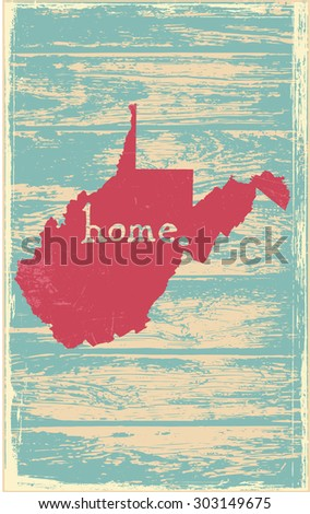 West Virginia nostalgic rustic vintage state vector sign - stock vector
