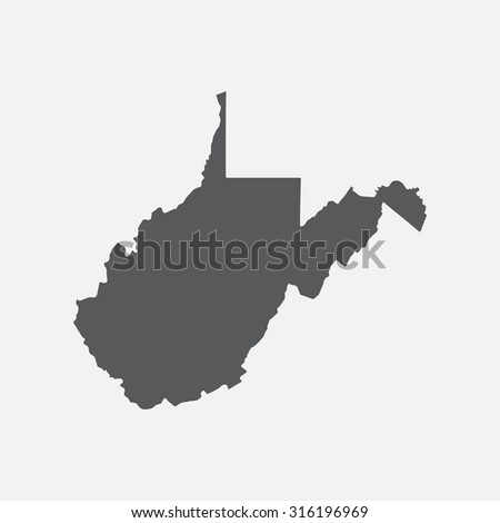 West Virginia state border map. - stock vector