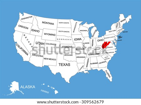 Virginia State Usa Vector Map Isolated Stock Vector - Virginia in usa map