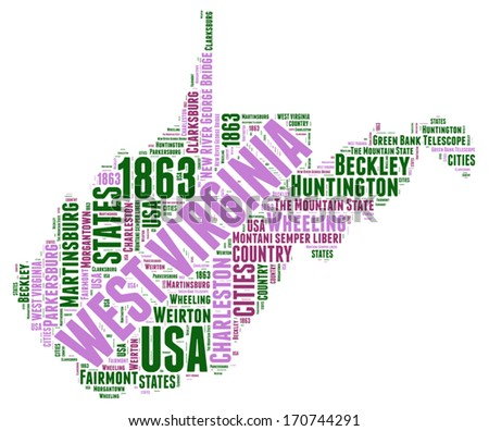 West Virginia Usa State Map Vector Tag Cloud Ilration