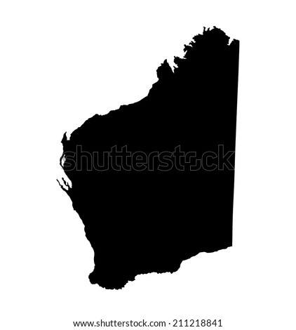 Western Australia state  vector map isolated on white background silhouette. High detailed illustration.  - stock vector