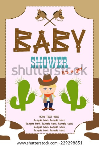Western Baby Shower - stock vector