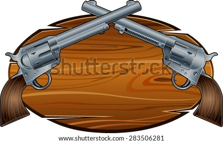 western background with western style revolvers - stock vector
