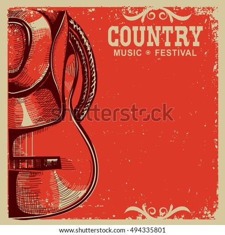 Western country music poster with american cowboy hat and guitar on vintage card background