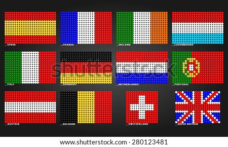 Western Europe flags made of bubbles - stock vector