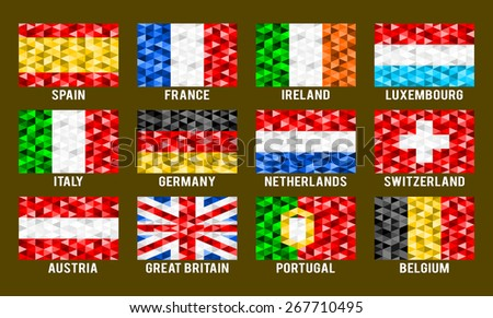 Western Europe low poly flags  - stock vector