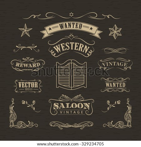 Western hand drawn banners vintage badge vector - stock vector