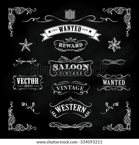 Western hand drawn blackboard banners vintage badge vector - stock vector
