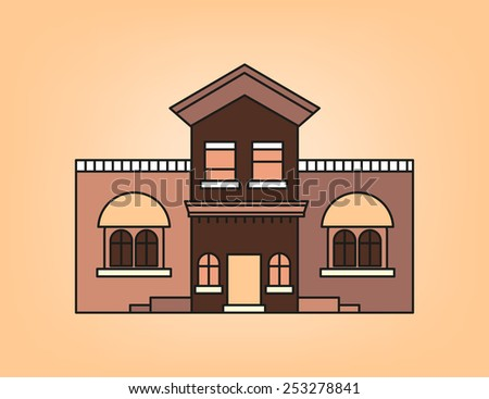 Western house in brown tone - stock vector