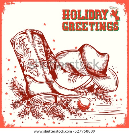 Western merry christmas and New Year greeting card with cowboy boot and western hat.Vector illustration