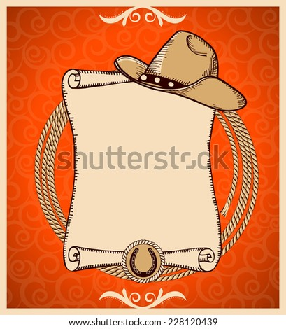 Western New Year Rodeo card.Vector greeting card with scroll background and text - stock vector