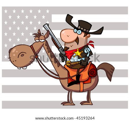 Western Sheriff with gun on horse In Front Of A Flag