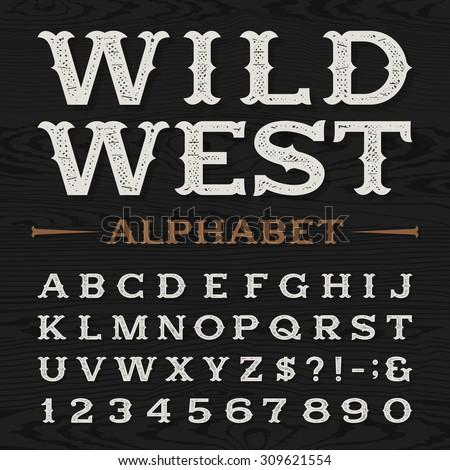 western style retro distressed alphabet font stock vector 309621554 shutterstock