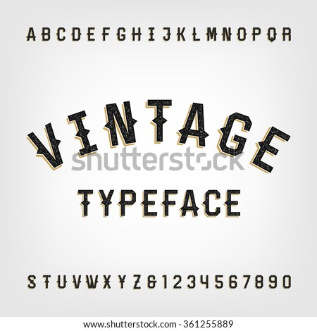 Western style retro distressed alphabet vector font. Letters and numbers. Vintage vector typography for labels, headlines, posters etc. - stock vector