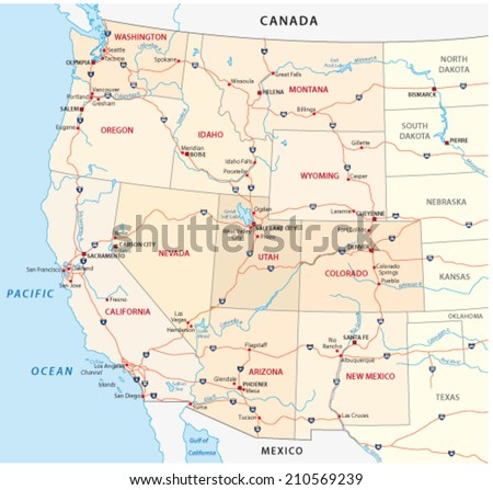 western united states map - stock vector