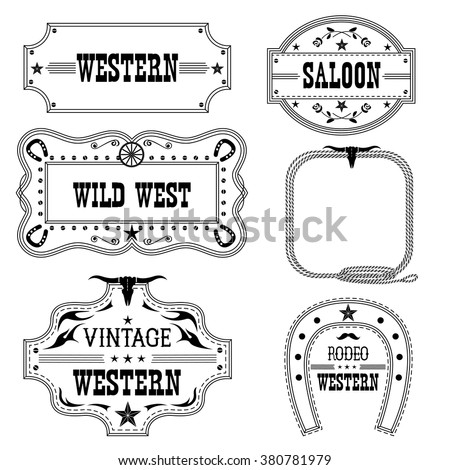 Western vintage labels isolated on white for design.Vector antique frames with text - stock vector