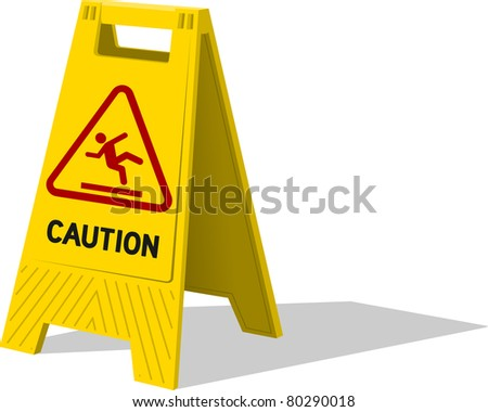 Wet floor and cleaning in progress - stock vector