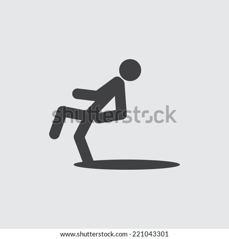Wet floor caution sign. Danger of slipping icon - stock vector