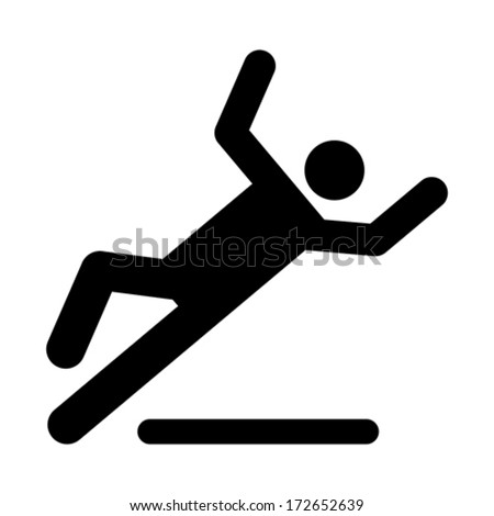 Wet floor caution sign. Danger of slipping isolated on white background - stock vector