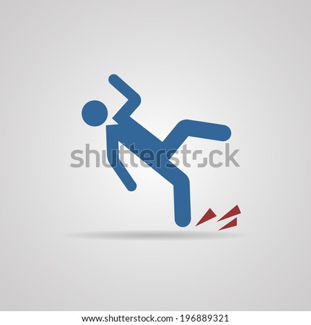 Wet floor caution sign. Vector illustration. - stock vector