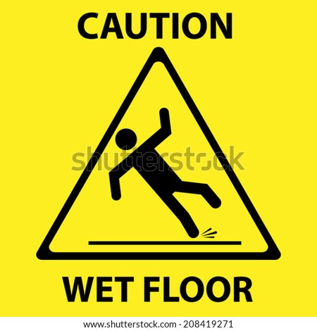 Wet Floor Sign - stock vector
