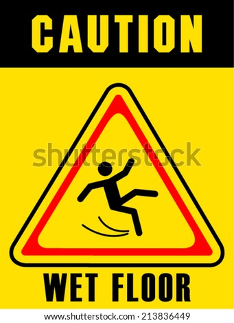 wet floor sign on white board - stock vector