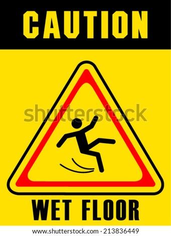 Caution Wet Floor Stock Vector 127965686 - Shutterstock