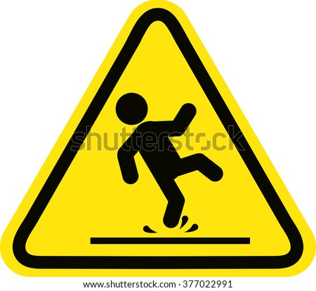 Wet Floor sign, yellow triangle with falling man in modern rounded style. Isolated vector illustration. - stock vector