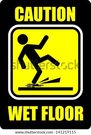 Wet Floor, sticker - stock vector