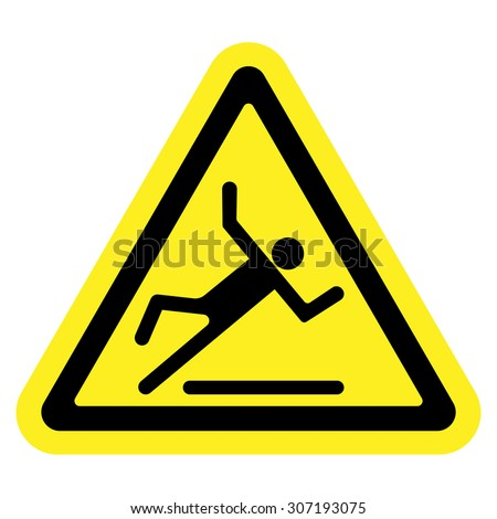 Wet floor warning sign. Slippery caution image. Slip and fall icon. Vector illustration - stock vector