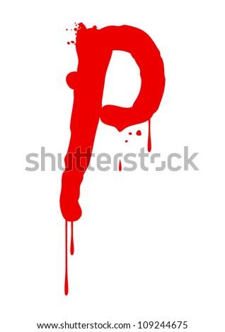 Wet paint font type, letter P - stock vector