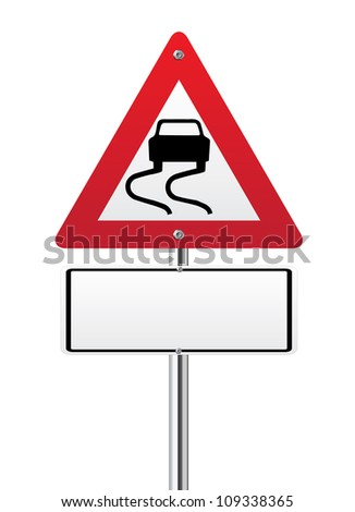 Wet road warning sign on white - stock vector