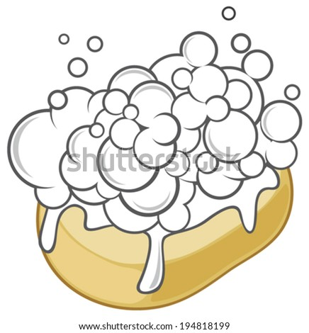 wet soap with foam (soap with foam) - stock vector