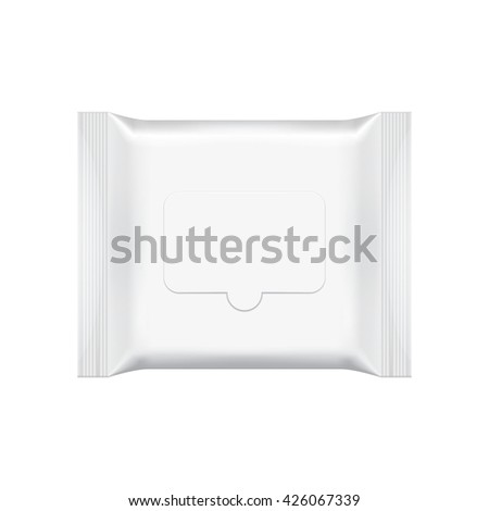 Wet wipes package isolated on white background. Blank wet wipes packaging. Wet wipes foil cosmetic bag. Package template. Realistic wet wipes mockup. Wet wipes template. Packaging box. Wet wipes pack. - stock vector