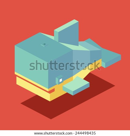 whale. 3d pixelate isometric vector - stock vector