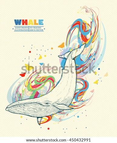Whale dives into the water whale art hand drawn vector illustration