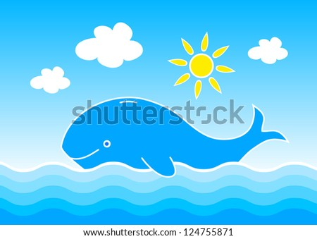 Whale in blue sea