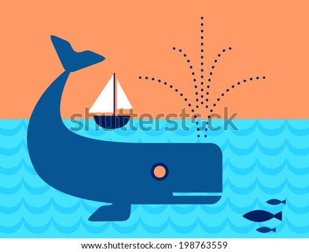 Whale in the ocean swimming under a Sailboat - stock vector