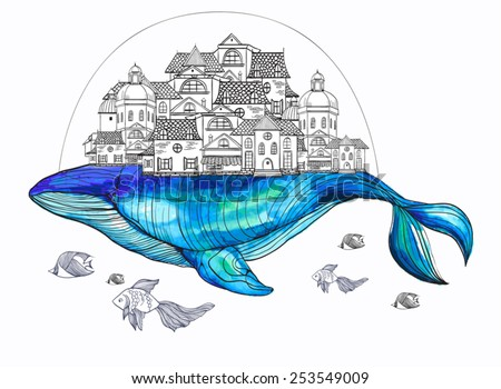 Whale life - stock vector