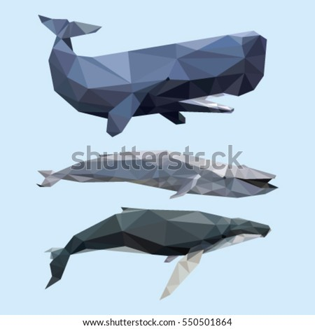 WHALE LOW POLY POLYGONAL GEOMETRIC