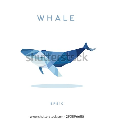 Whale Lowe roles polygons, vector illustration, logos - stock vector