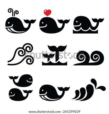 Whale, sea or ocean waves icons set  - stock vector
