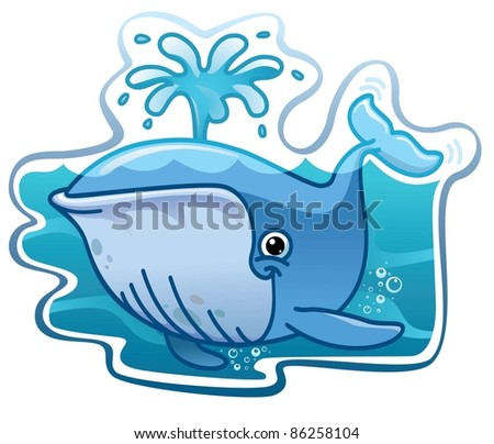 Whale sprinkles water - stock vector