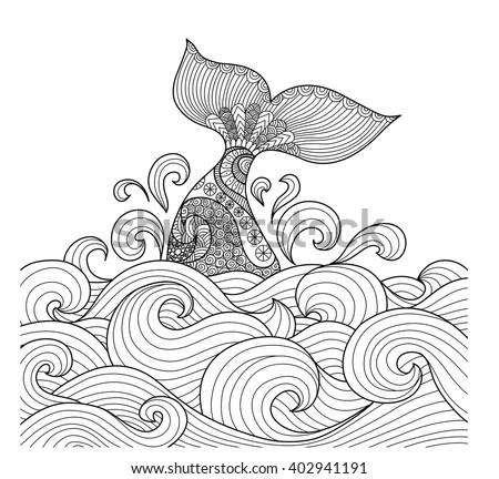 Whale tail in the wavy ocean line art design for coloring book fro adult,sign, logo, T-shirt design, card and design elelment