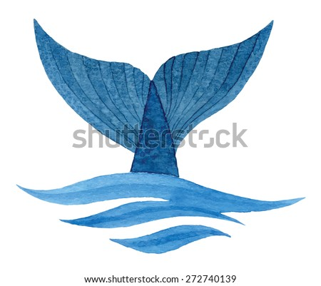 Whale tail in wave - hand drawn watercolor vector illustration