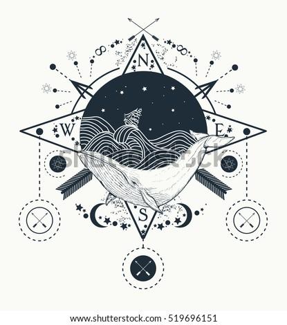 M Rank Whale Under Water Tattoo