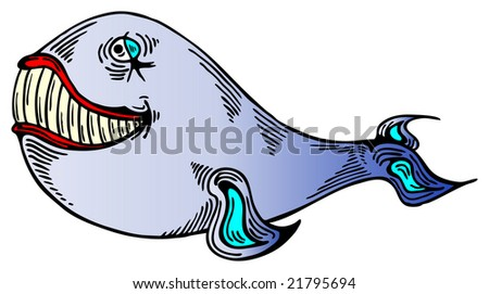 Whale with big teeth and red lips