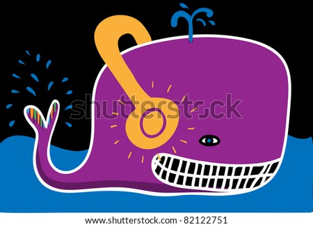 Whale with headphones - stock vector